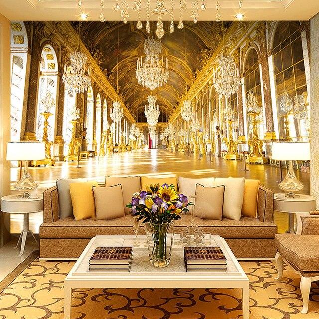 Papel De Parede 3D Paisagem European Style Golden Church Luxury Wallpaper  Hotel Living Room High Quality