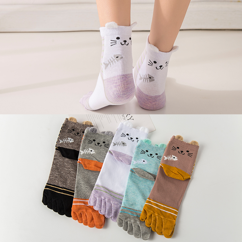 Five Finger Socks Cotton Breathable Sweat 5 Toe Socks Japan Socks With Separate Toes Colorful