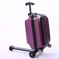 2018 Multi function 21 inches boy scooter suitcase creative PC trolley case 3D extrusion business Travel cool luggage business