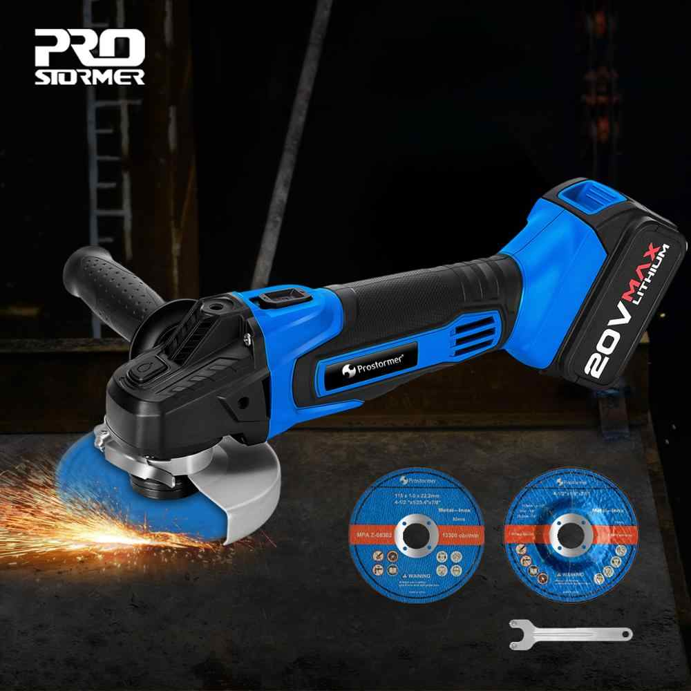 PROSTORMER Cordless Angle Grinder 20V Lithium-Ion 4000mAh Grinding Machine Cutting Electric Angle Grinder Grinding Power Tool