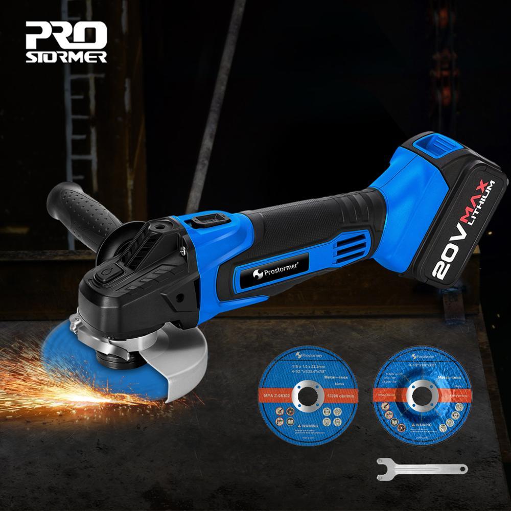 PROSTORMER Winkel Grinder 20V Cordless Lithium-Ionen 4000mAh Schleifen maschine Elektrische grinder Winkel Grinder schleifen Power Tools