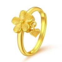 Чистое 24 K кольцо из желтого золота 999 Золото женщин цветок сердце кольцо 3,29 г
