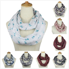 winter spring new lovely female dot ring scarf fashion women voile nice character loop scarf ethnic style size180 50cm no 11001 New Fashion Ring Scarf for women Floral striped print Infinity Loop Neckerchief Echarpe Foulard Femme Size 180*50cm