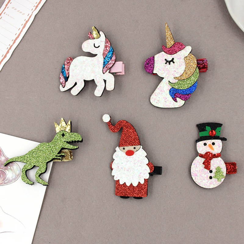 Children's Hair Accessories Christmas Bright Pink Santa Snowman Unicorn Dinosaur Hairpin Cute Cartoon Hair Clip Headdress