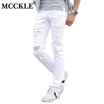 MCCKLE Fashion White Ripped Jeans Men Skinny Distressed Denim Joggers With Holes Torn Destroyed Jean Pants Male Brand Designer roupas da moda masculina 2019