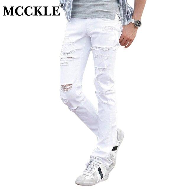8588076536b33 MCCKLE blanco de la moda vaqueros hombres Skinny Joggers con agujeros roto  destruido pantalones de hombre