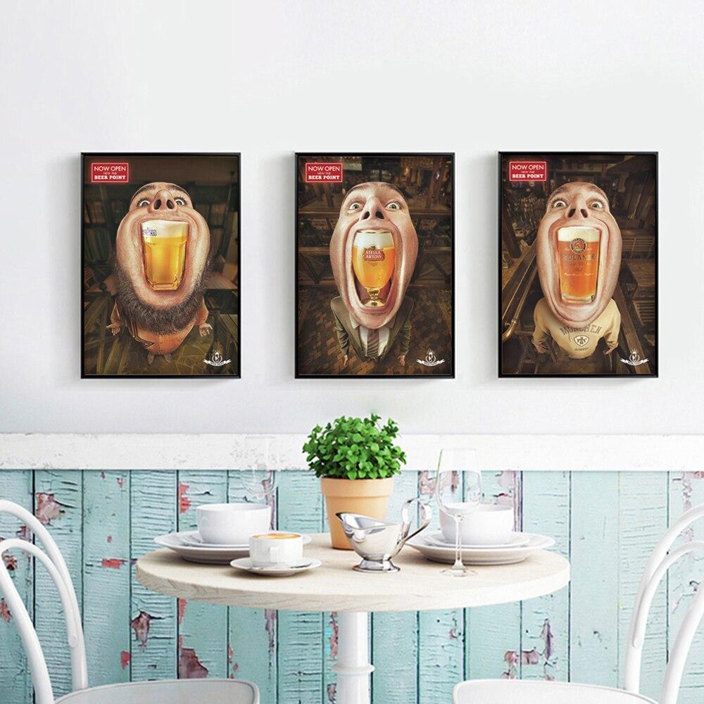 bianche pared moderno bar de cerveza de dibujos animados dibujo a lienzo pintura art print poster