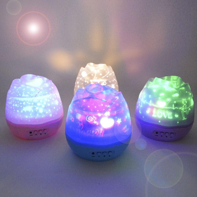 Projector Nachtlampje Romantisch Rozenknoppen Vormig Roterend - Nachtlampje