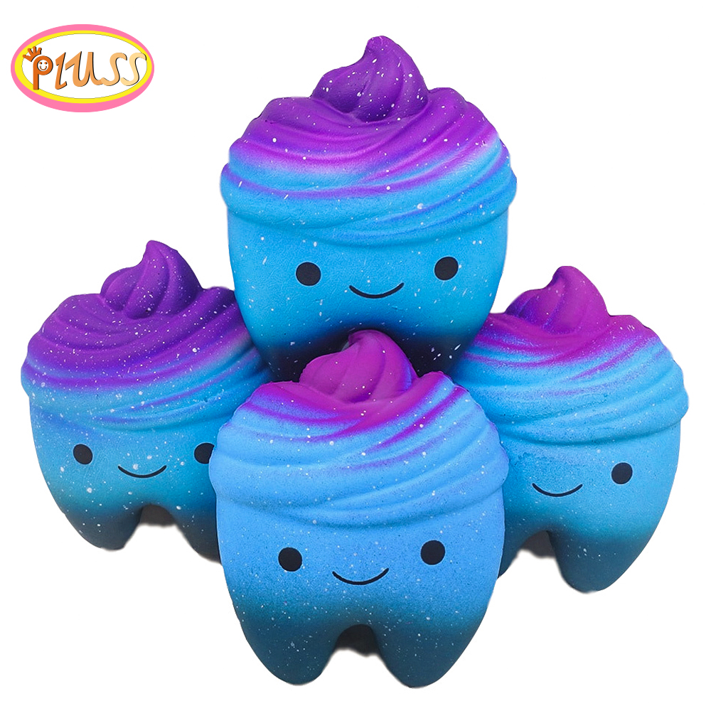 Big Kawaii Cartoon Galaxy Tooth Cake PU Squishy Antistress Toys Jumbo Soft Teeth Squishy Slow Rising Fun Kids Adults Squeeze Toy