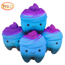 big Kawaii Cartoon galaxy Tooth Cake PU Squishy antistress Toys Jumbo soft teeth squishy Slow Rising fun Kids adults Squeeze Toy