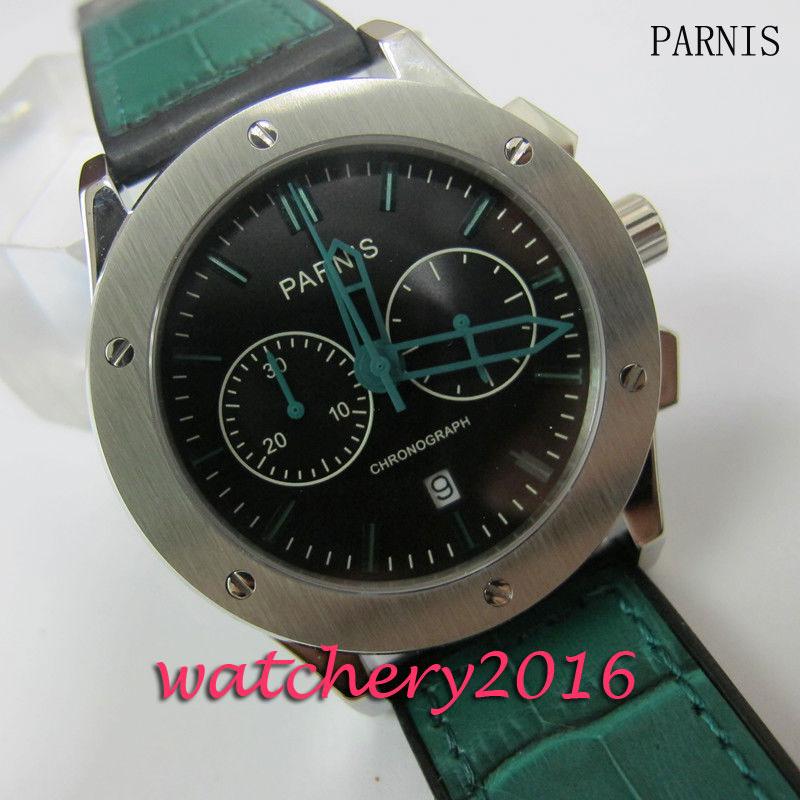 лучшая цена Luxury Parnis 44mm black dial green hands Chronograph watches mens stainless steel case date window quartz movement Men's Watch