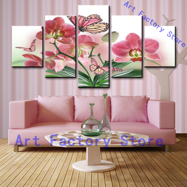 5 Piece Canvas Art Butterfly Flower Painting By Numbers Oil Painting ...