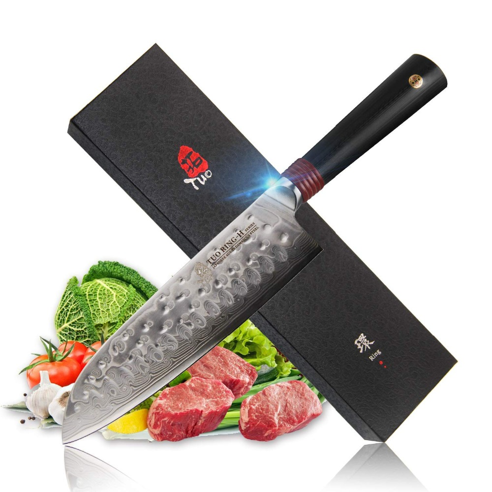 TUO Cutlery Santoku Knife Japanese AUS 10 Stainless Steel Kitchen Knfie Hammered finished Non slip Ergonomic
