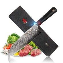 TUO столовые приборы Santoku нож-японский AUS-10 из нержавеющей стали кухонный knfi-молотый готовой нескользящей эргономичной G10 ручкой-7»