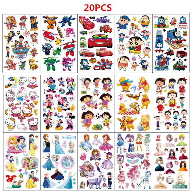 20 Sheet/set Cartoon Temporary Tattoo Sticker Waterproof  Fake Tattoo For Boy Girls 3D Kids Tattoo Body Art Tatuajes Temporales