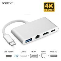 DOITOP 1080P 4K HD 4 in 1 USB 3.1 Type C to HDMI+USB 3.0+RJ45+Type C Audio Video Adapter USB C Converter For Macbook Samsung S8