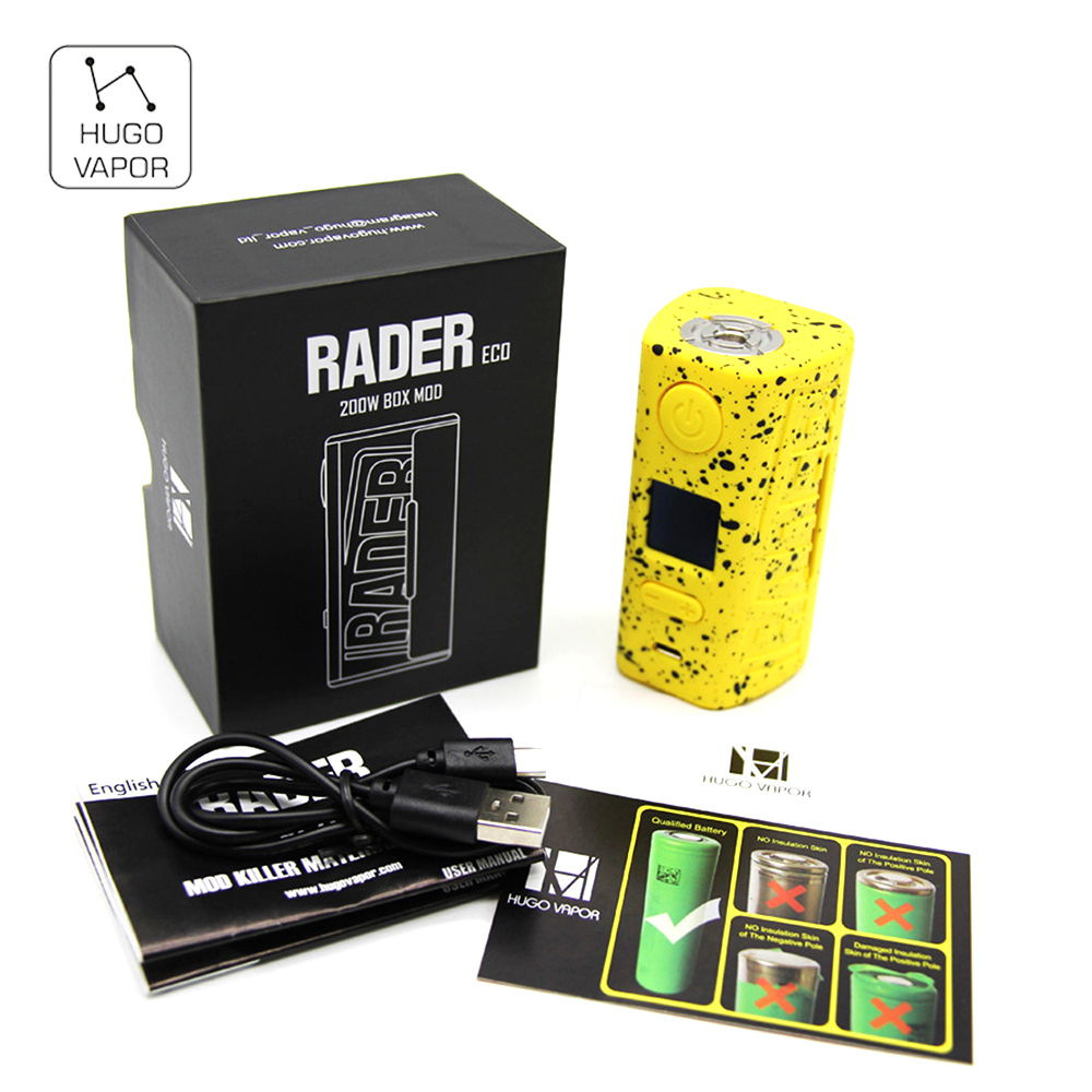 Original Hugo Vapor Rader ECO Box MOD 200W Max Output Light-weight Box Mod With ABS&PC Material E-cigarette Vape VS Rader Mage