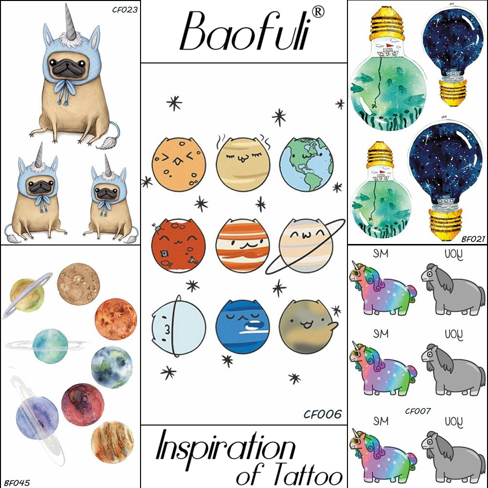 Cartoon Universe Planet Temporary Tattoo Baby Gift Body Art Paint Flash Tatoos Disposable Waterproof Lovely Stars Tattoo Sticker