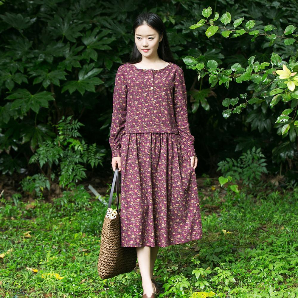 S m l xl mori flores vintage impressão floral manga longa chá-comprimento vestido longo