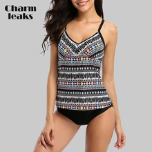 Charmleaks Women Tankini Set Two Piece Swimwear Vintage Floral Printed Swimwear Back Cross Swimsuit Beachwear Bathing Suit