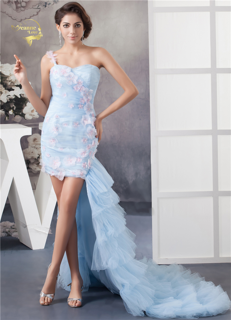 Jeanne Love Sexy Tulle Short   Cocktail     Dresses   2019 With Tail Formal Blue Beading Sequins Wedding Party   Dress   Plus Size JO002939