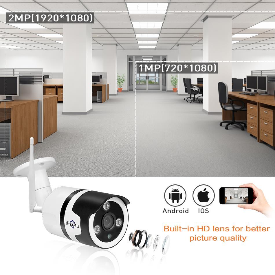 Hiseeu Wi-Fi Outdoor IP Camera 1080P 720P Waterproof 2.0MP 4