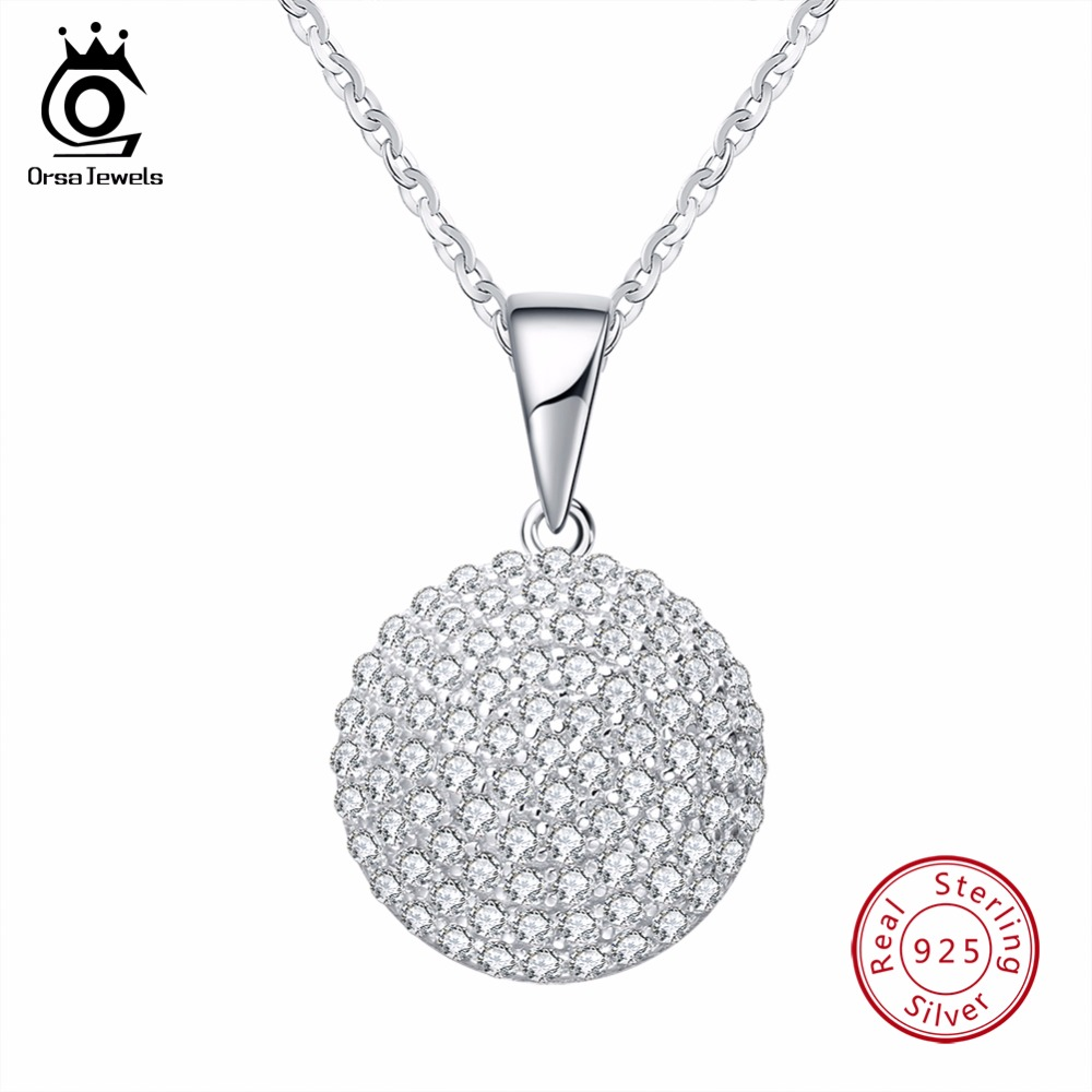 ORSA JEWELS Top Quality Trendy Round 925 Sterling Silver Jewelry Pendant AAA CZ Necklace With 45CM Chain SN60 недорго, оригинальная цена
