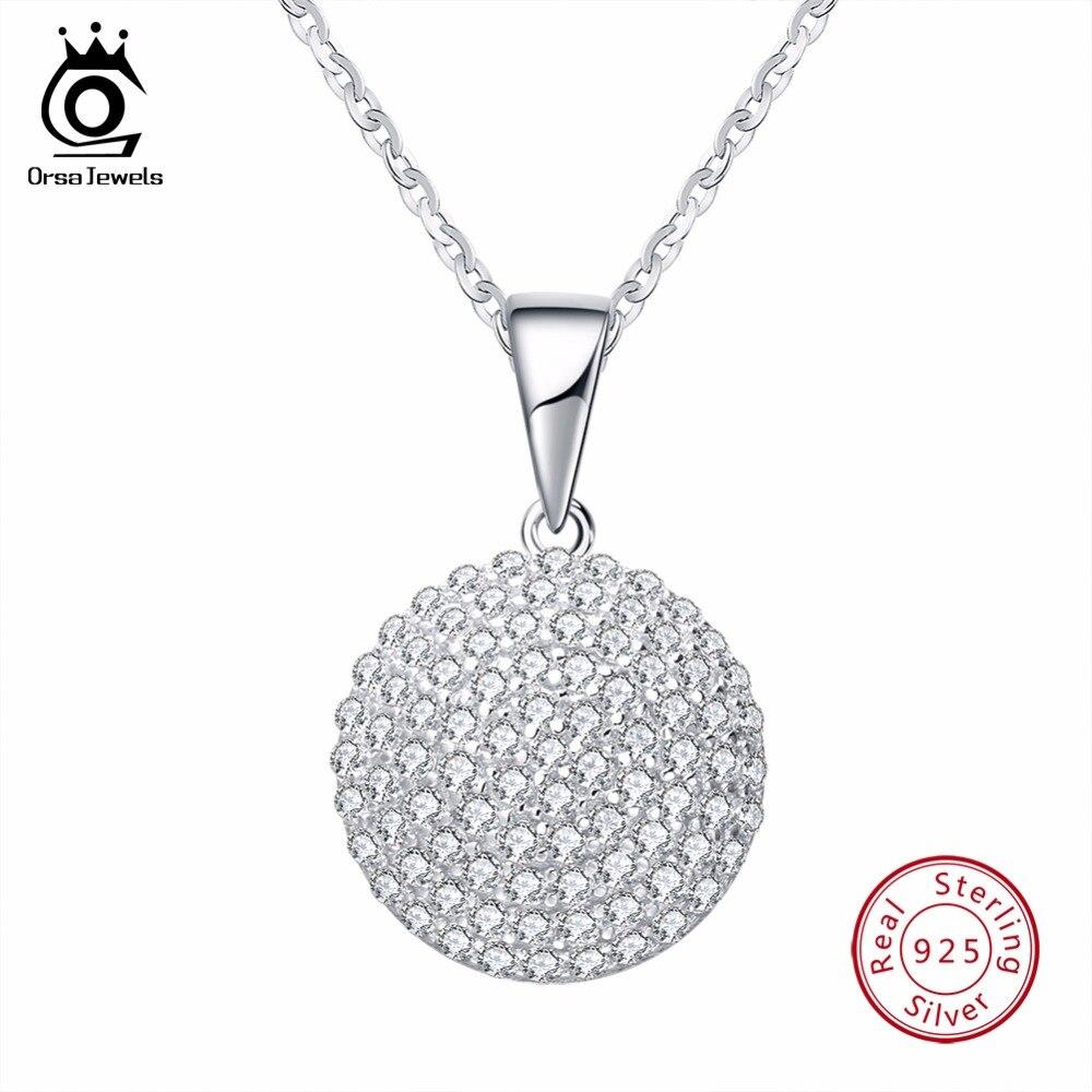 ORSA JUWELEN Top Qualität Trendy Runde 925 Sterling Silber Schmuck Anhänger AAA CZ Halskette Mit 45 cm Kette SN60