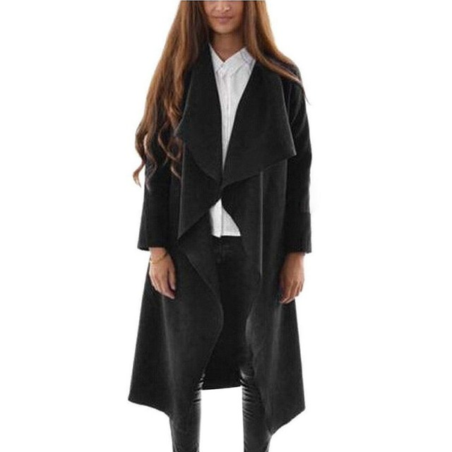 Women Stylish Winter Warm Coat Outwear Cotton-Padded Long Cardigan Coat Slim Trench
