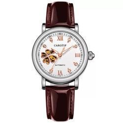 Новые модные женские механические часы полые дизайн лучший бренд класса люкс водостойкие натуральная кожа женские Автоматические часы