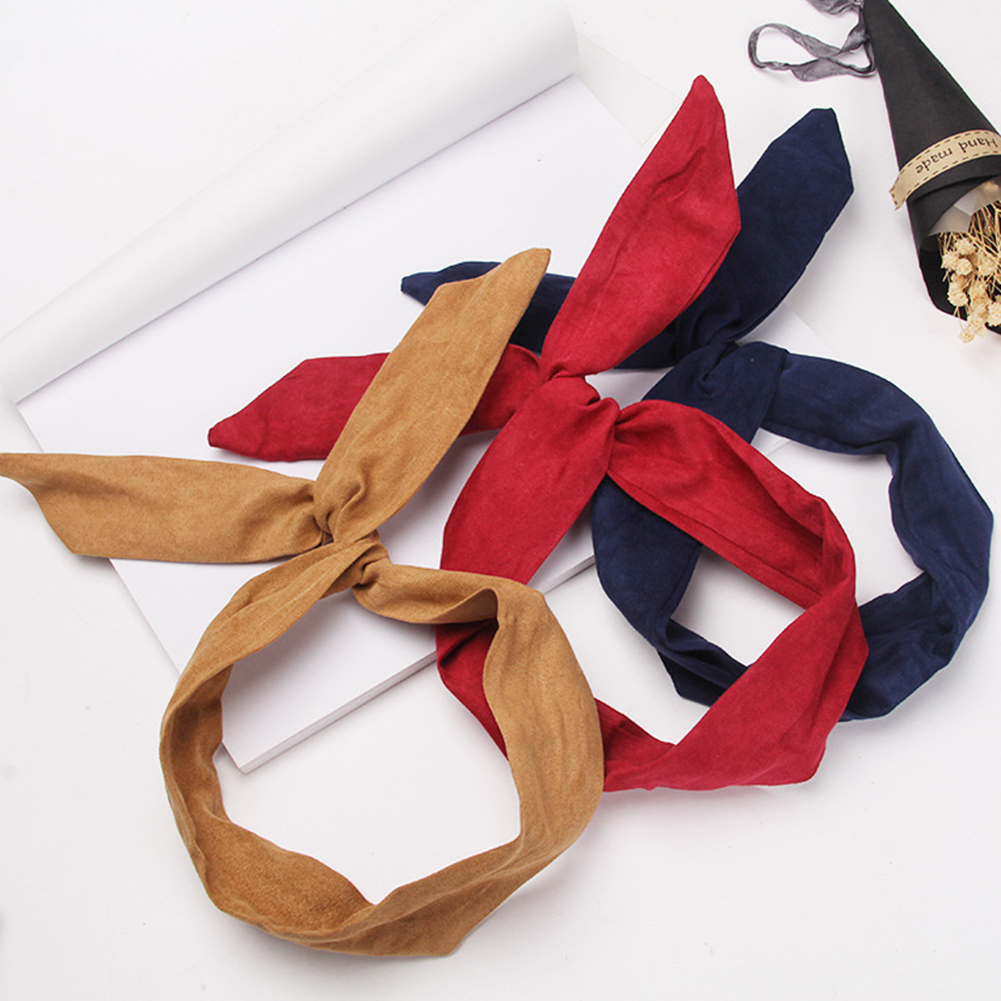 Cross Bow Headband Summer New Fashion Hair Accessories Retro Suede Solid Color Rabbit Ears Metal Wire Red Pink Hair Bands Ties