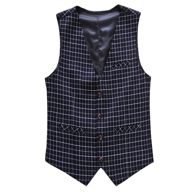 Coletes À Prova de homens novo Estilo de Moda Vestido Profissional Pequeno Cavalheiro Terno Xadrez Colete Homens Casual Slim Fit Mens Coletes À Prova de Outerwear M-6XL