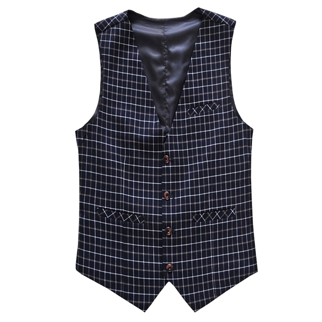 New Fashion Style Men's Vests Professional Dress Little Gentleman Plaid Suit Vest Men Casual Slim Fit Mens Outerwear Vests M-6XL