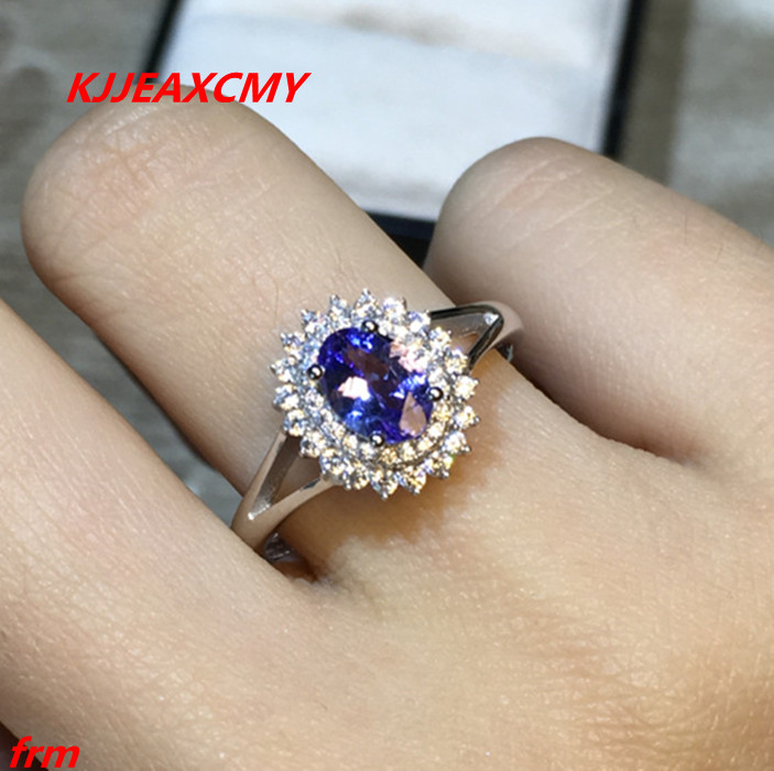 KJJEAXCMY Fine jewelry 925 Sterling Silver with natural 4A color ring Tanzania shinv wholesale alive. tanzania