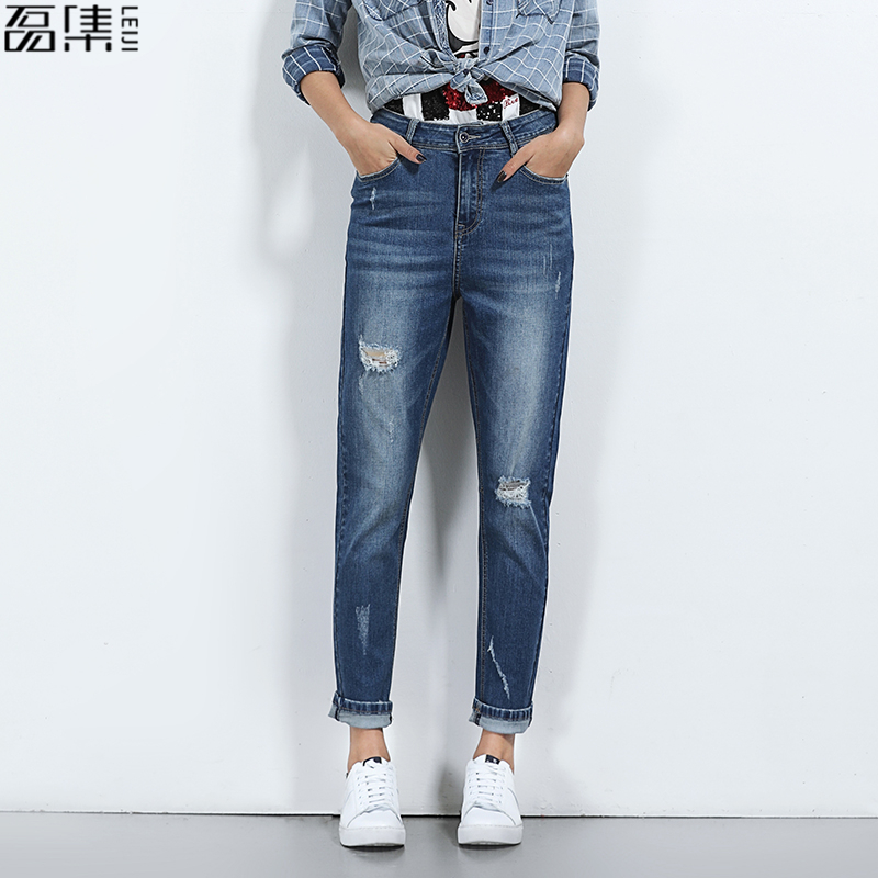 2017 Ripped Jeans Ženska Hole Light Blue ohlapno Plus Size Mid Waist Bombaž Denim hlače za ženske 6XL