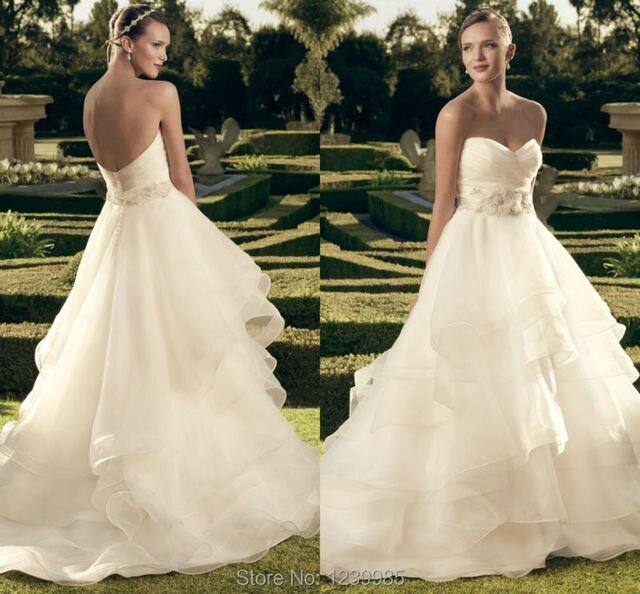 Casablanca Wedding Dress Romantic Ruffle Sexy Backless Sweetheart
