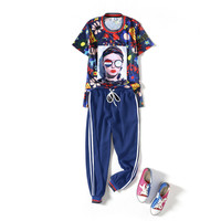 Summer fashion suit women's new large size was thin loose printing T shirt casual nine pants two sets 2piece set women