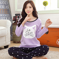Pajama sets women spring and autumn sleepwear  long-sleeve pullover trousers cotton plus size sweet female lounge set