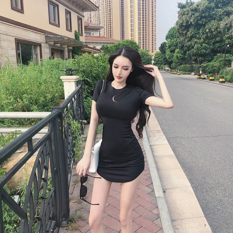 Летнее сексуальное модное черное облегающее платье с коротким рукавом, облегающее платье с круглым вырезом, облегающее платье с завышенной...
