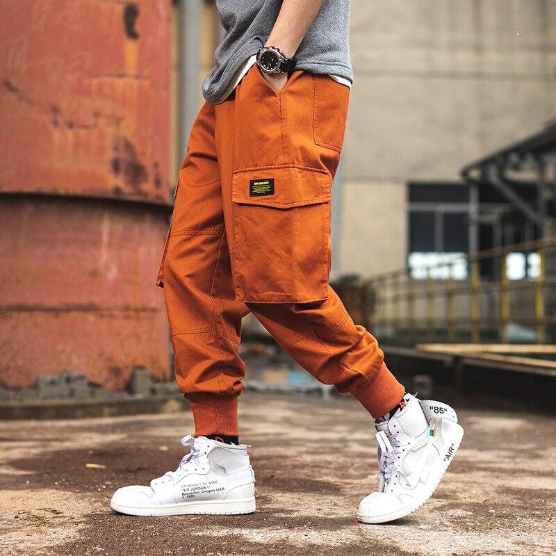 Orange Cargo Pants Men Causal Plus Size Men Harem Pants Pencils Streetwear Joggers Pants Pocket Homme Trousers Solid XXXL