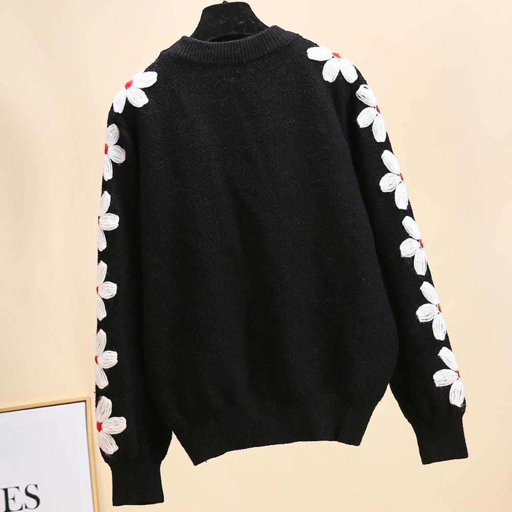 Et Automne Sur Tops Pull Fleurs Marque Noir Européen Manches Crochet Chandail Sy1889 Tricot Black Américain Femmes Designer Avec Hiver S7fxq4xwd