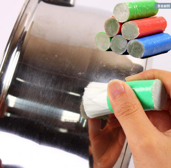 2 PCS aço inoxidável magia Metal Rust Remover limpeza detergente hastes Remover as manchas mais difíceis vara escova da lavagem Pot utensílios de cozinha