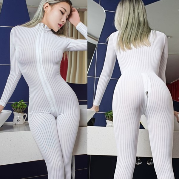 Dame Black Striped Sheer Bodysuit Smooth Fiber 2 Zipper Long Sleeve Jumpsuit