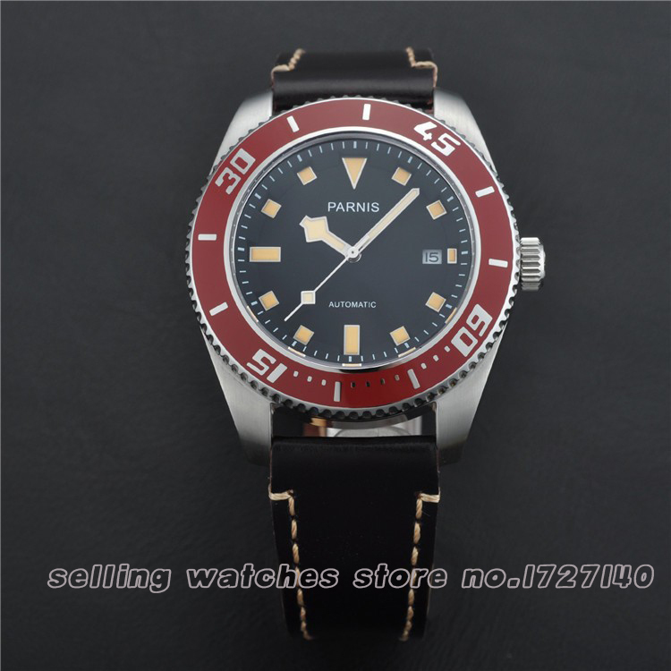 43mm Parnis Stainless Steel Case Black Dial Red Bezel Auto Mens Watch  49643mm Parnis Stainless Steel Case Black Dial Red Bezel Auto Mens Watch  496