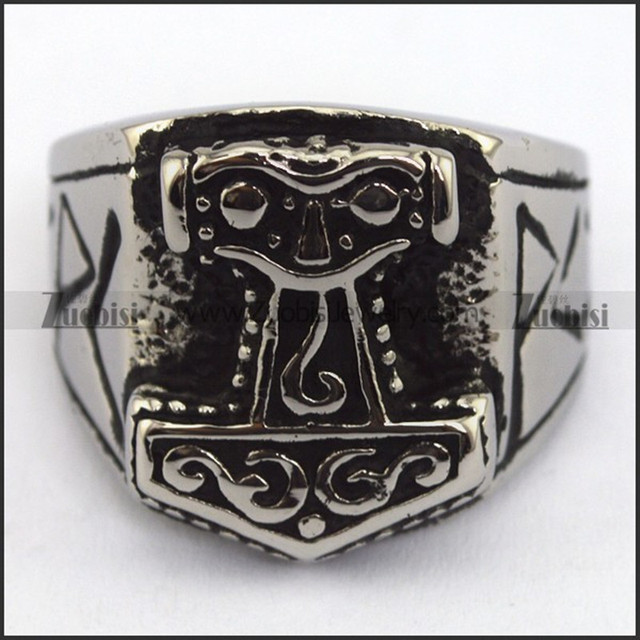 316l Stainless Steel Hammer Of Thor Ring Attractive Religious Lion Rings Cool Men S Viking Jewelry Fingers Accessoris