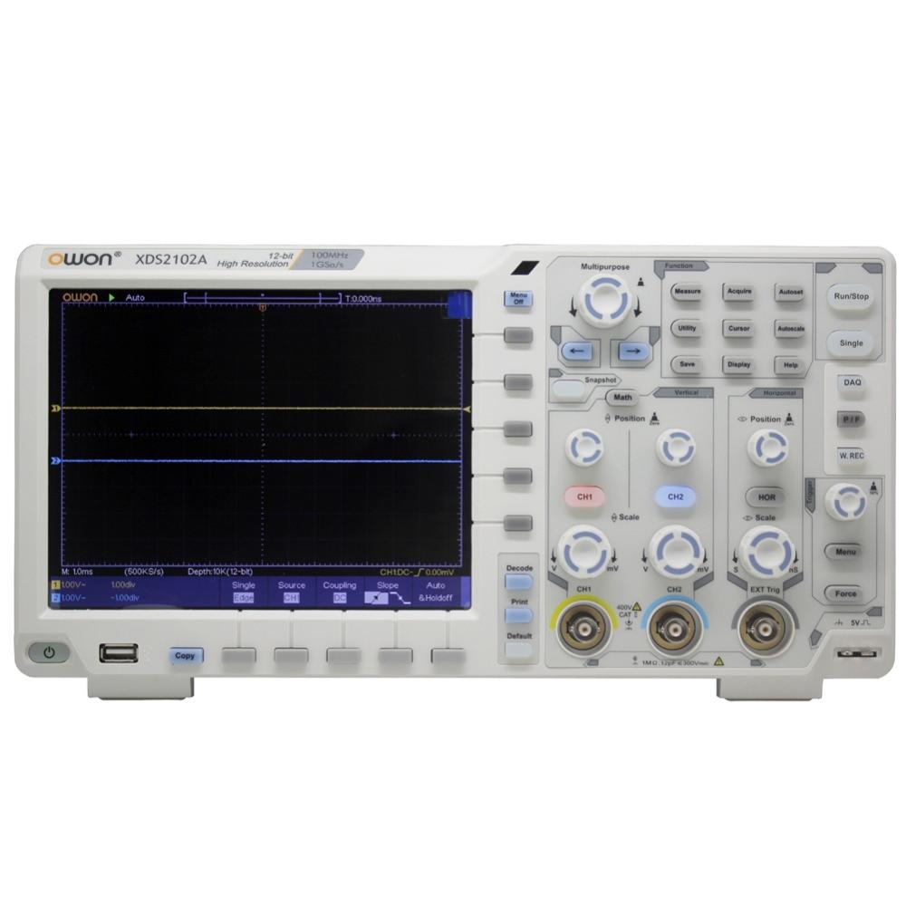 OWON XDS2102A 100 mhz 12 bit ADC Ad Alta Risoluzione Digitale Oscilloscopio decodifica ADC 12bit XDS2102A