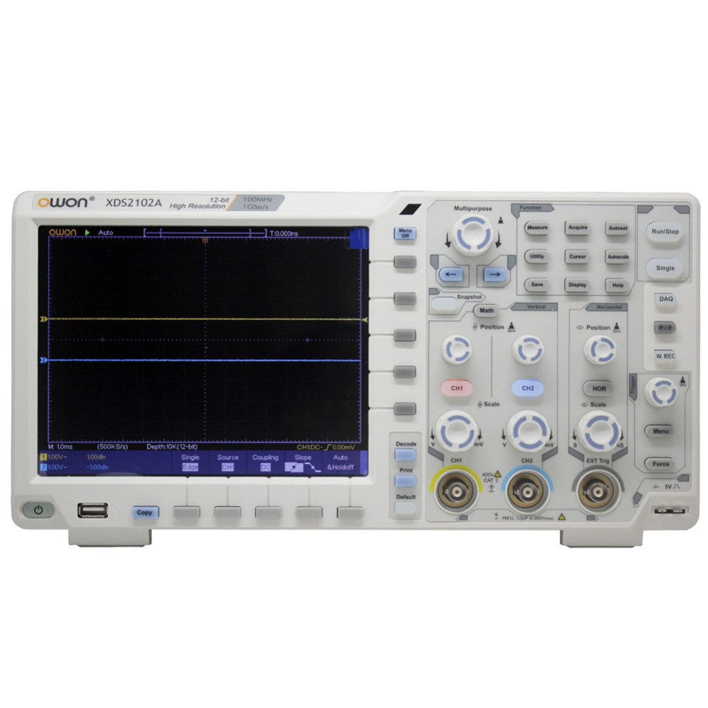OWON XDS2102A <font><b>100MHz</b></font> 12 bits High Resolution ADC Digital <font><b>Oscilloscope</b></font> SPI/I2C/RS232/CAN decode XDS2102A image