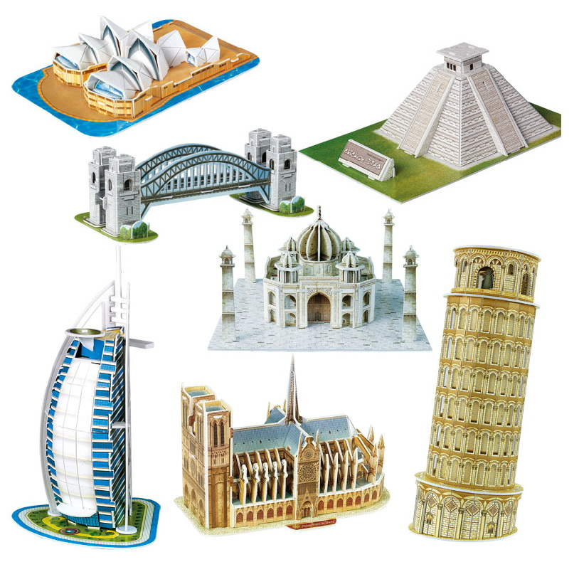 BOHS Scale Paper Miniature Model Eiffel Tower Bridge  Great Wall Leaning Tower 3d Puzzle for Children World Great Architecture series s 3d puzzle paper diy papercraft double decker bus eiffel tower titanic tower bridge empire state building