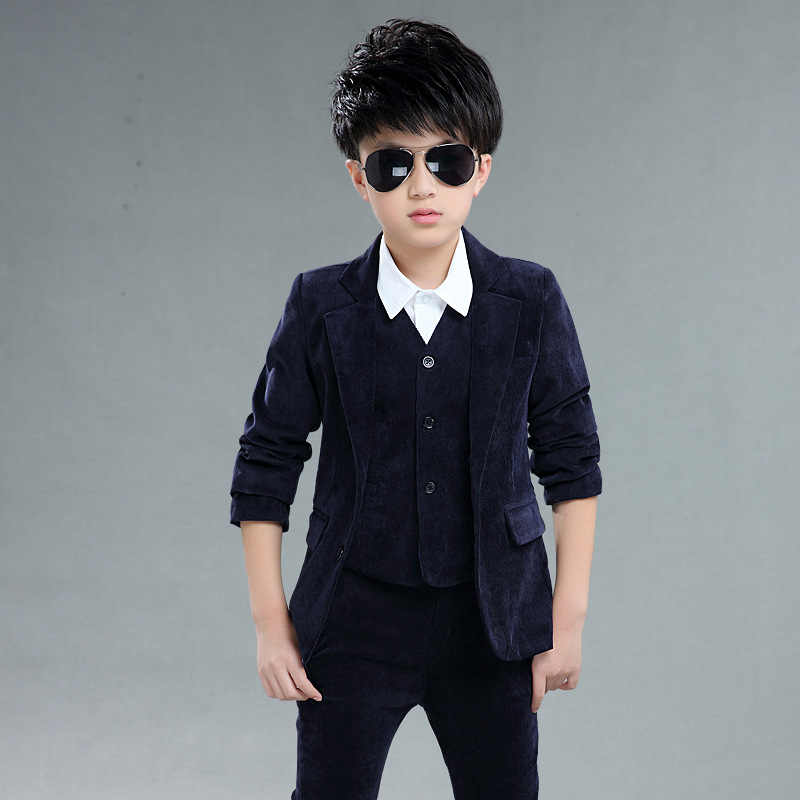 3 Piece 2018 Baby Boy Clothing Sets Gentleman Suit Toddler Boys Clothes For Weddings Formal Clothing Boy Blazers Suit Children