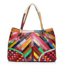 2016 New Xmas gift for mom Multicolour Genuine Leather Bags Weave Handbags Women's Shoulder Bag Messenger Bag colorful handbag